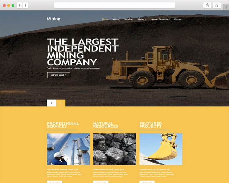 Mining bootstrap responsive template