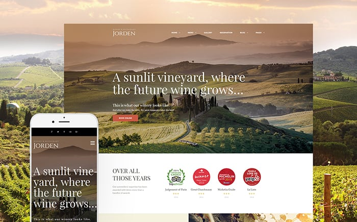 Jorden Winery WordPress Theme