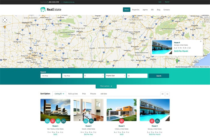 Responsive WordPress Theme for Real Estate Agency