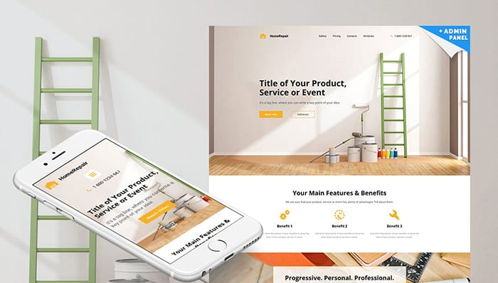 Home Repair MotoCMS 3 Landing Builder