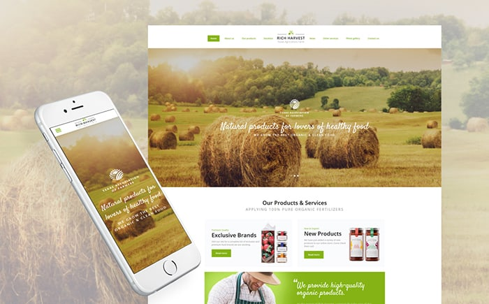 Rich Harvest - Agriculture Farm Responsive Multipage Website Template
