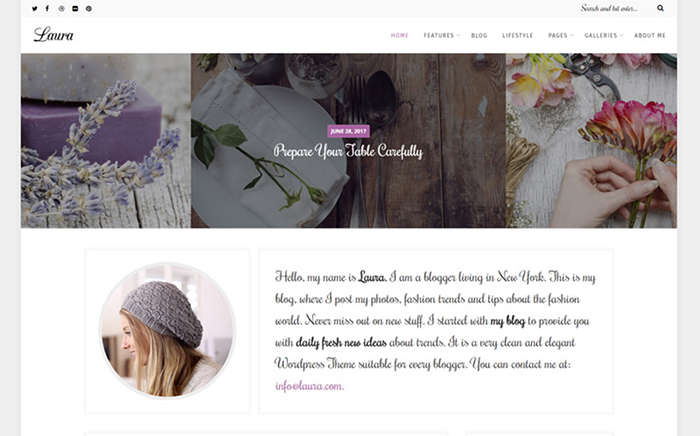 Laura - A Feminine Blog WordPress Theme
