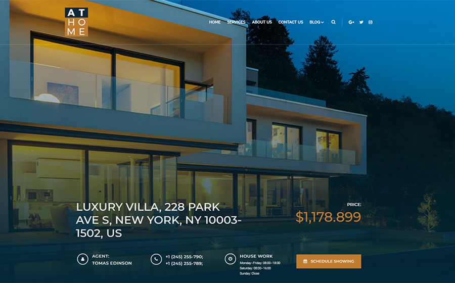 At Home - Real Estate Elementor WordPress Theme
