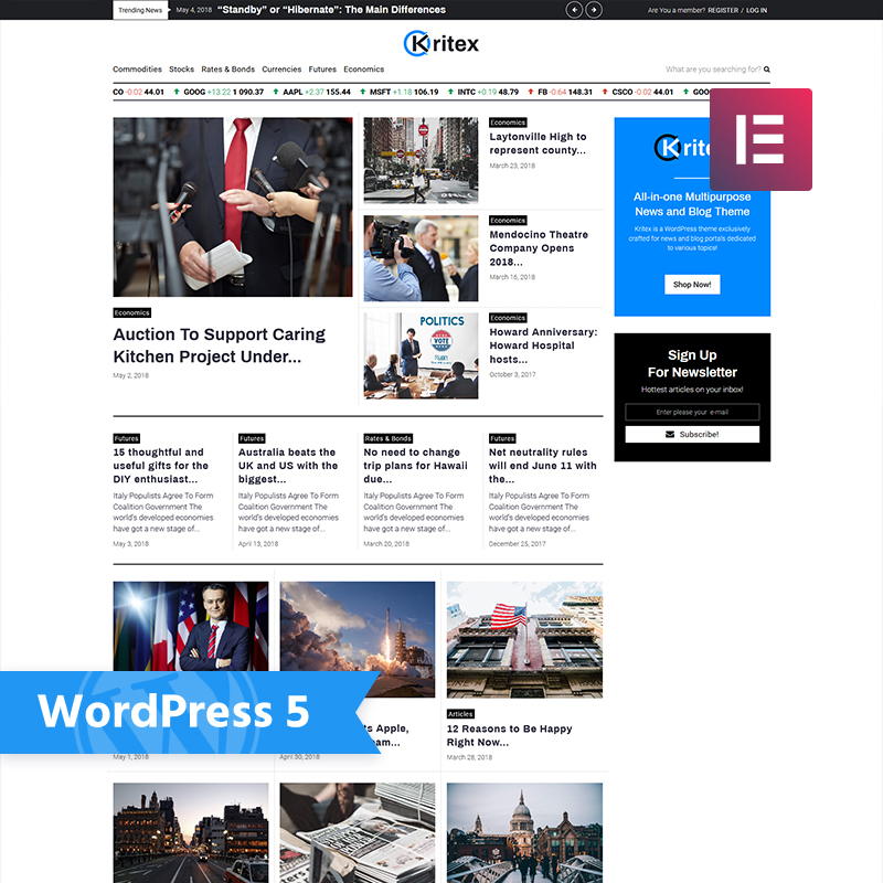 Kritex - Corporate News Blog Modern Elementor WordPress Theme