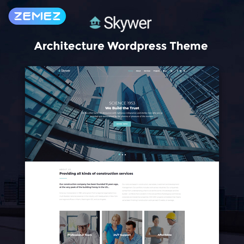 Skywer - Architecture Multipurpose Modern Elementor WordPress Theme