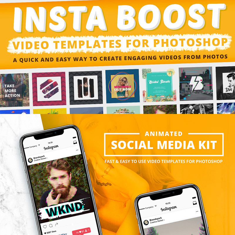 Animated - Instagram Video Templates for Photoshop Social Media