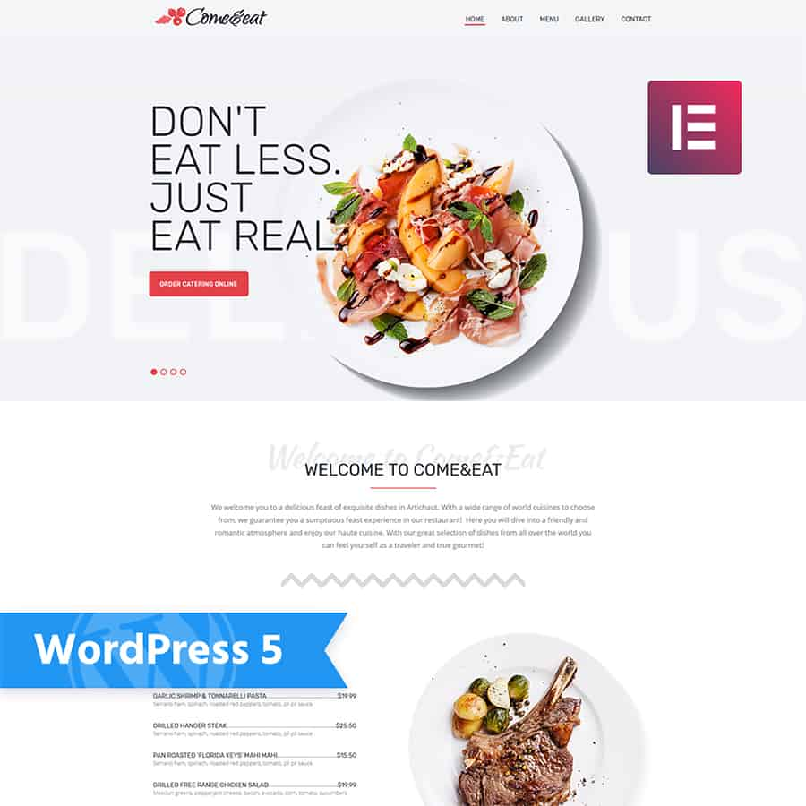 Come&Eat - Restaurant Multipurpose Modern Elementor WordPress Theme