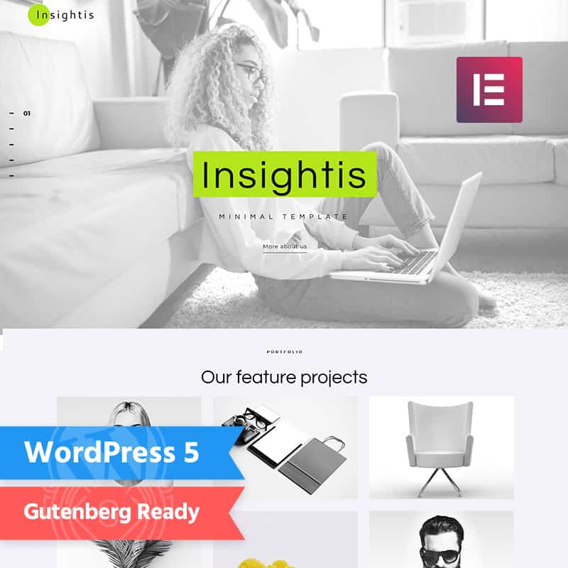 Insightis - Creative Minimal  Elementor WordPress Theme