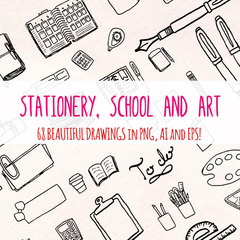 68 Stationery, School and Art Supply Illustration