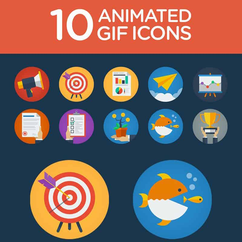 10 Flat Animated Icons Iconset Template