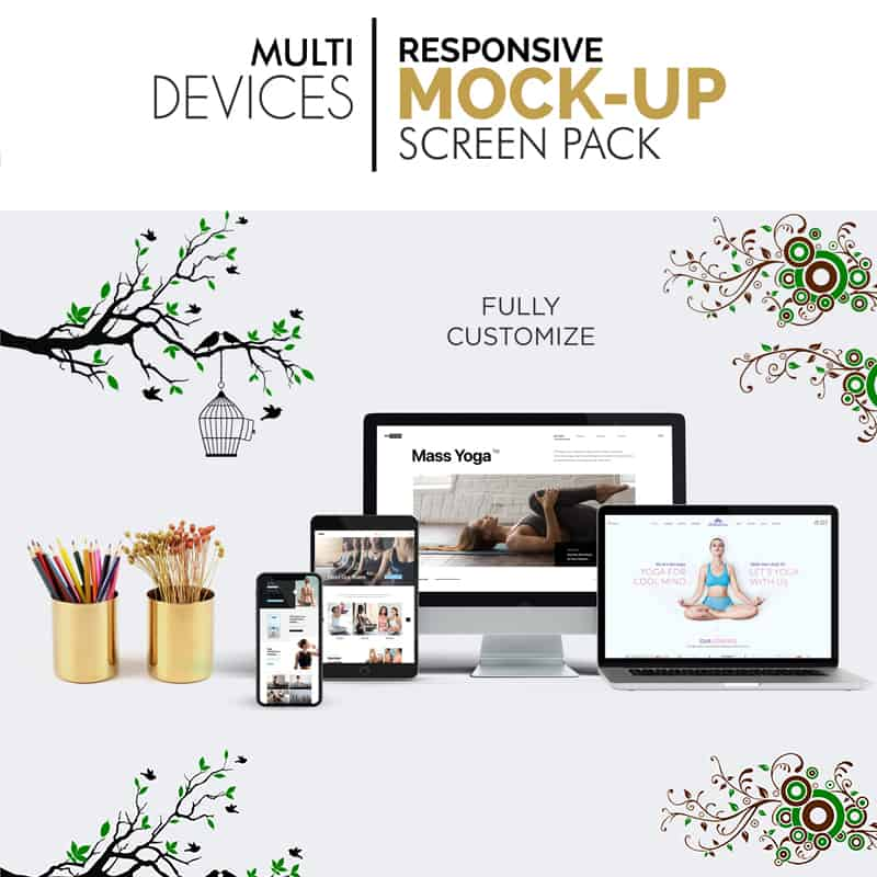 Multi Devices Responsive Screen Pack Product Mockup