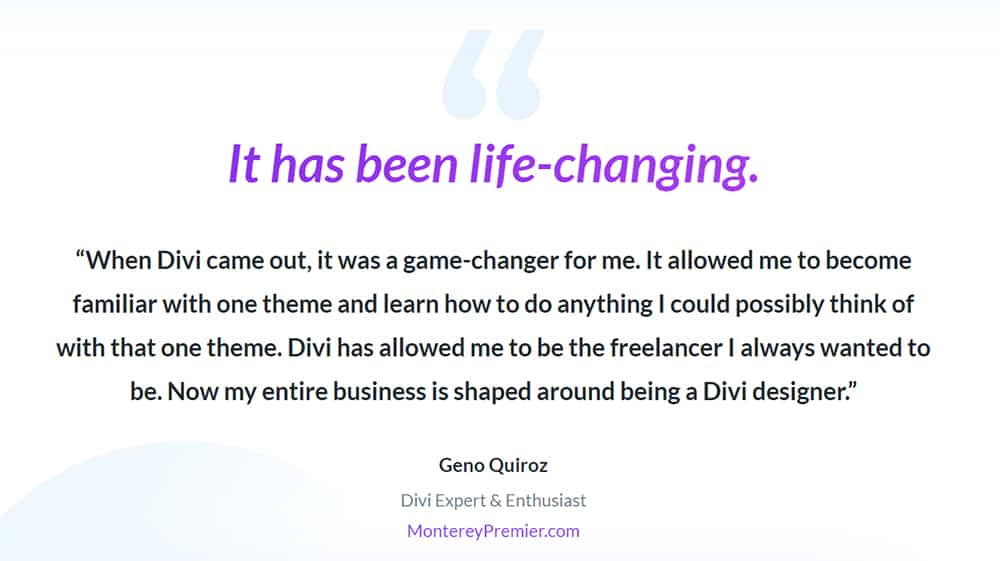 feedback from Geno Quiroz – Divi expert