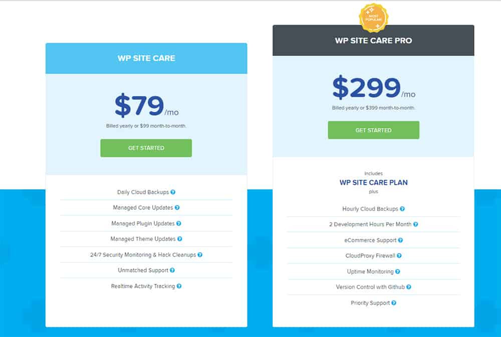 WPSiteCare pricing