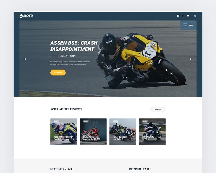 Motorcycle News Website Template - TemplateMonster