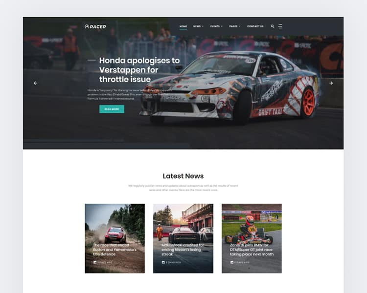 Car Sports News Website Template - TemplateMonster