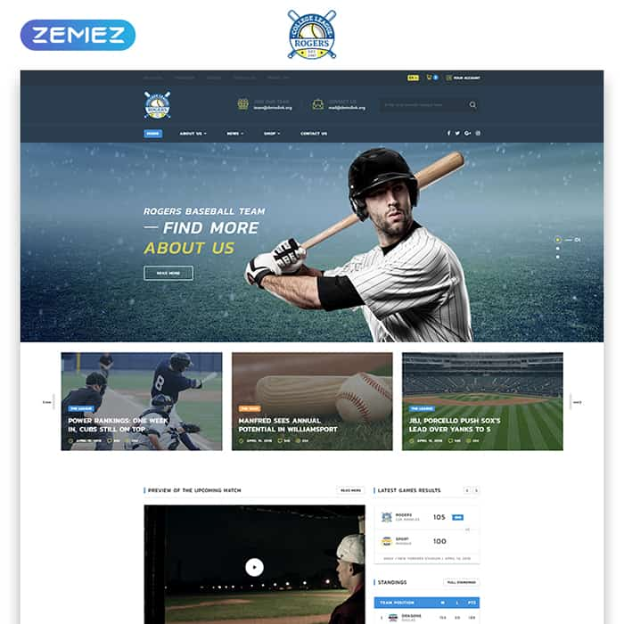 Baseball Team Multipage HTML5 Template