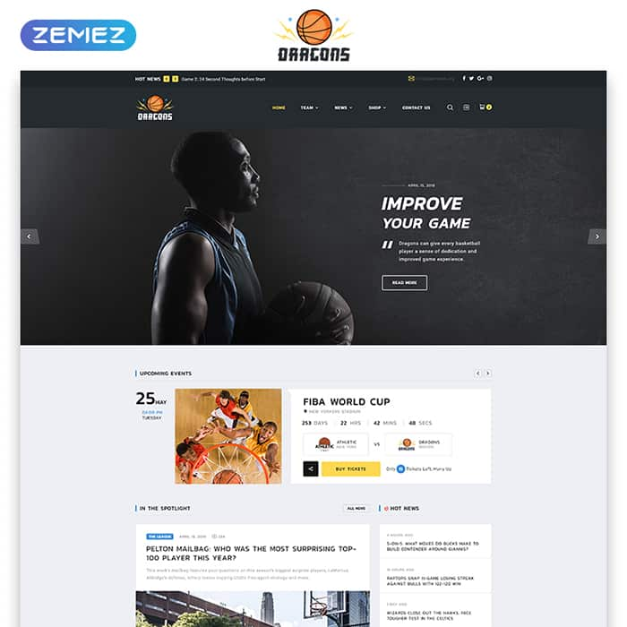 Basketball Team Multipage HTML5 Template