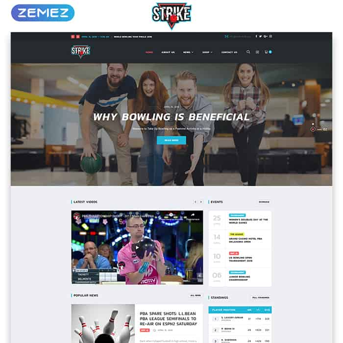 Bowling Multipage HTML Template