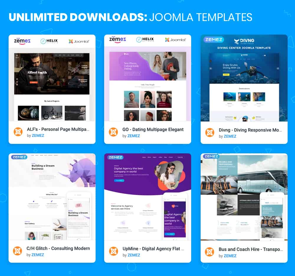 Joomla Templates in ONE subscription