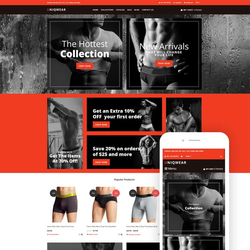 Underwear store - Lingerie Refined Shopify Theme