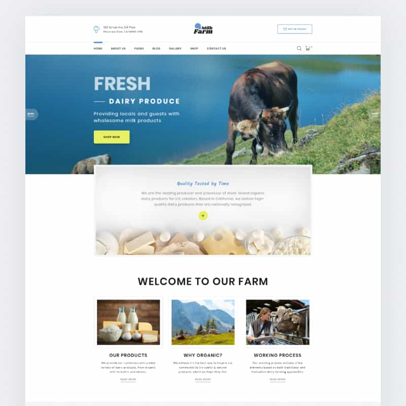 Dairy Farm Website Template